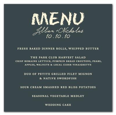 chalkboard theme wedding menu card