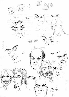 Estudos de rostos: Esteban, Ivan, Juan e esqueci o resto