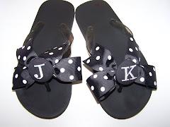 Black and White Monogrammed Flip Flops