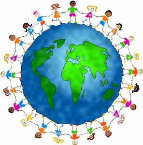 This is a picture of the world with children circling it holding hands.