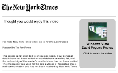 screenshot of NY Times Online e-mail with that video URL