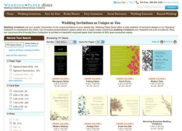 screen shot wedding invitations from the wedding paper divas online store