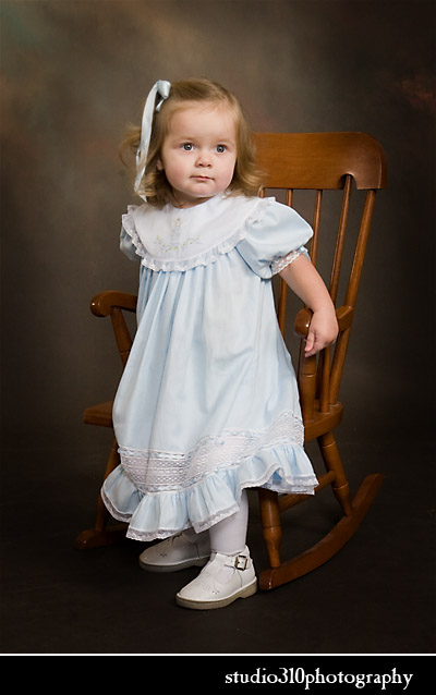 addie's studio portrait in her christmas dress at studio 310
