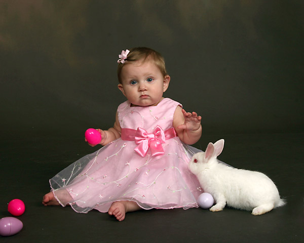 baby studio portrait photography in smithfield nc with an easter bunny