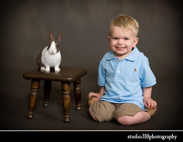 easter bunny photography with child at studio 310 in smithfield nc