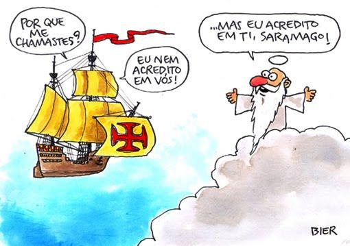 Saramago chegando no céu