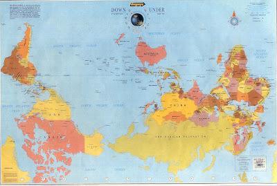 Planisfério visto da Austrália