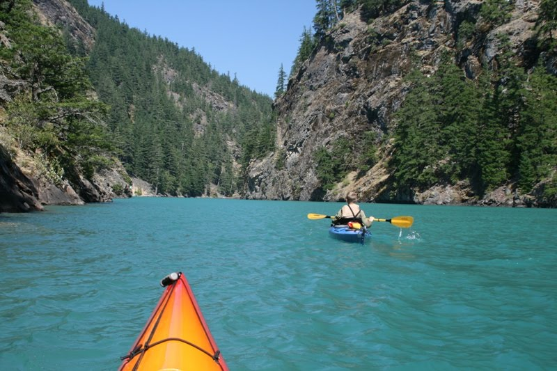 Paddling diablo lake is about 5 miles up to the bass of ross lake dam