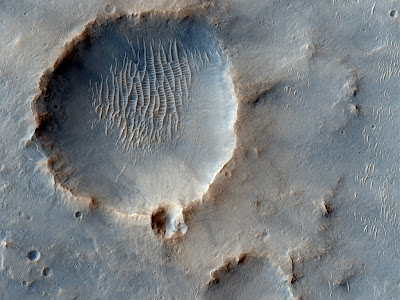 beautiful snapshot of crater on mars