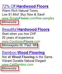 Google Adwords Ads Displaying State or DMA