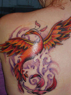 Female Upper Back Japanese Phoenix Tattoo