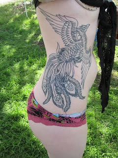 Female Side Body Japanese Phoenix Tattoo
