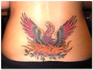Female Lower Back Japanese Phoenix Tattoo