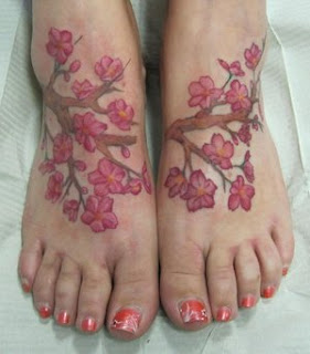 cherry blossom tattoos on foot