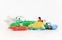 collectible toy cars on white background