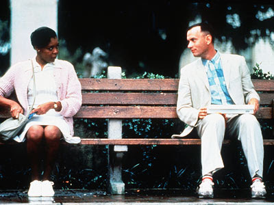 forrest talking to a lady
