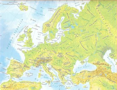 mapa de europa mudo. física: Europa física.
