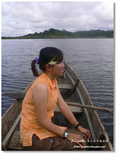 Jess in Amazon river in Cuyabeno reserve of Ecuador