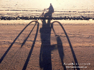 Jess's biking shadow in Atacama desert