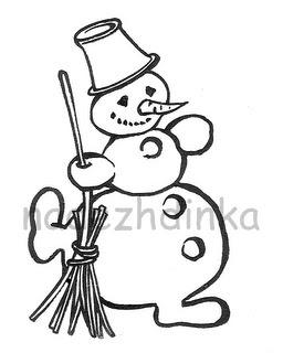 штамп для скрапбукинга: снеговик с метлой