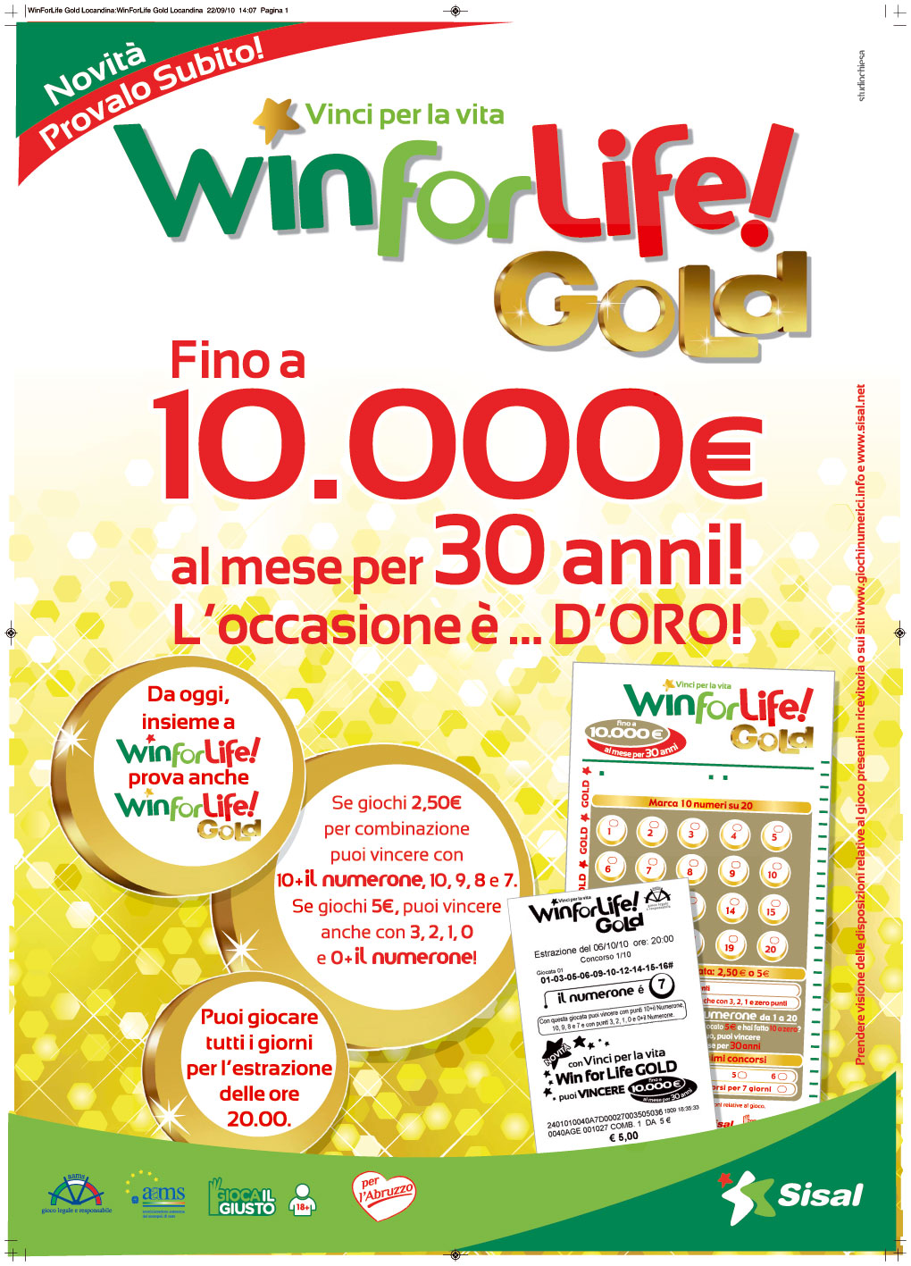 Tabaccheria Viterbo: WIN FOR LIFE 10.000 € AL MESE PER 30 ANNI