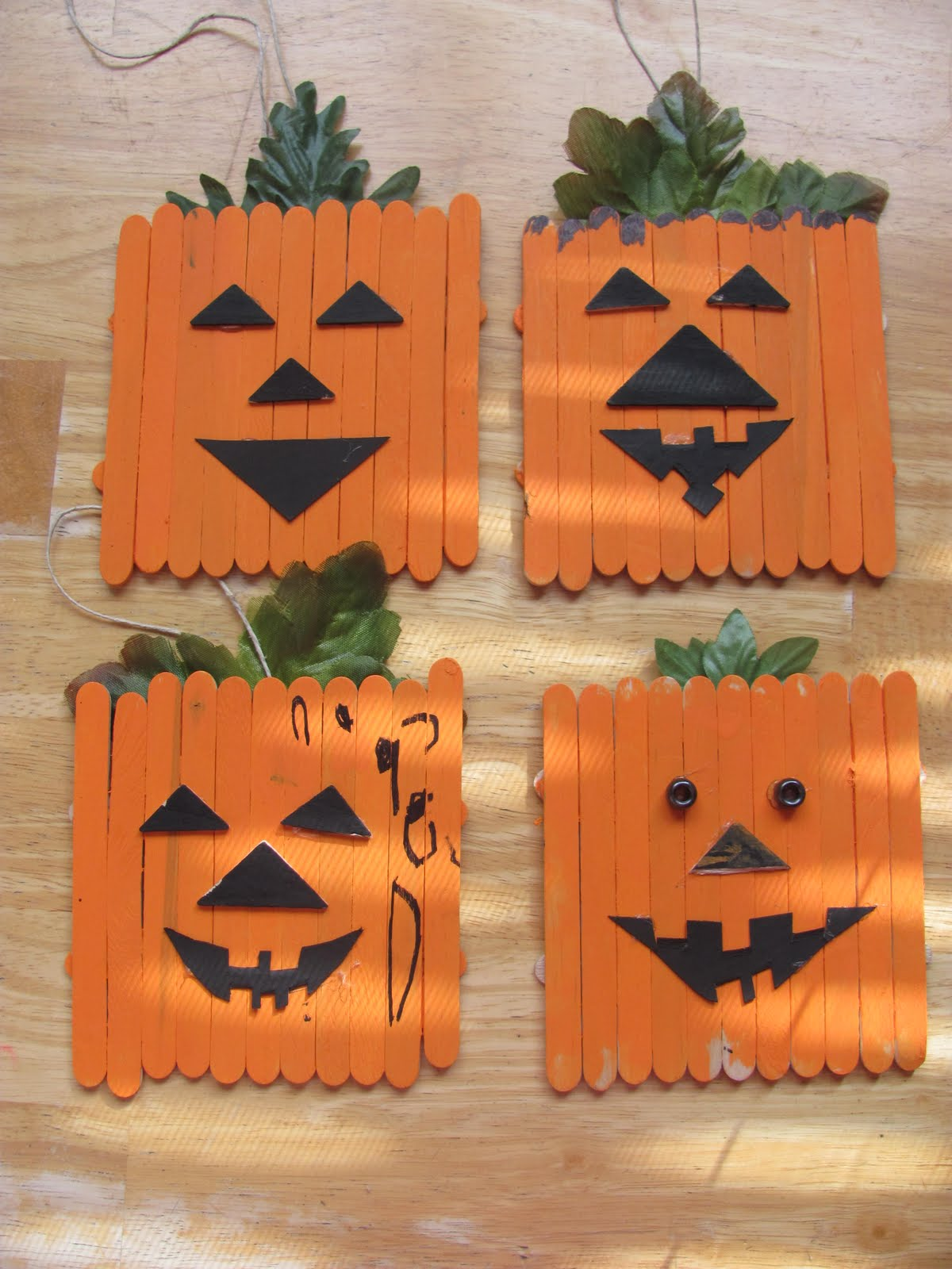 Popsicle Halloween Craft Pumpkin