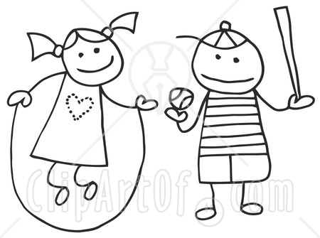 clip art boy and girl