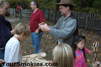 live demonstrations traditional toy making, hearth cooking, hominy making, apple butter, apple cider, soap making
