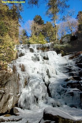 Ramsey cascades waterfalls in the winter at Greenbrier section of the Great Smoky Mountains national park