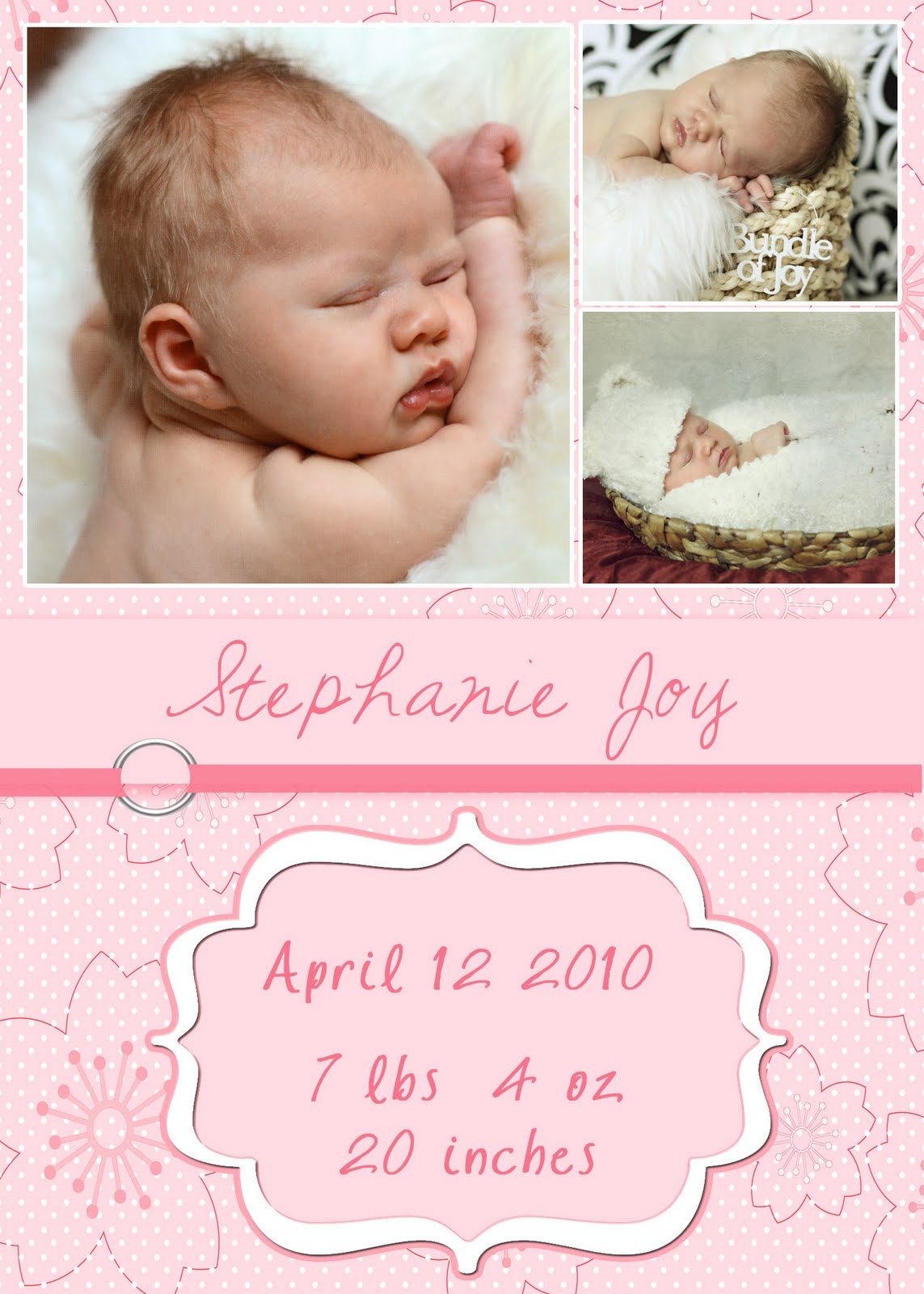 Inspirations Free 5x7 baby girl announcement – Free Birth Announcement Templates Photoshop
