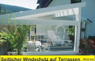 bauen und wohnen alubalkon seitenwindschutz auf terrassen. Black Bedroom Furniture Sets. Home Design Ideas