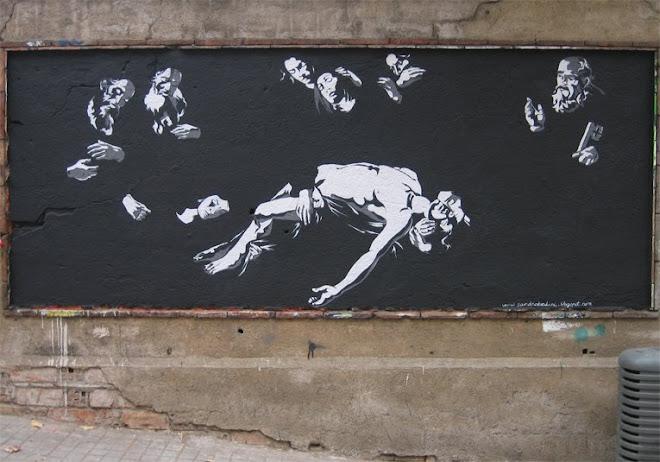 PIETÀ. acrílica sobre pared. El parc de les aigües, Barcelona