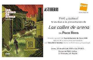 Invitación para la presentación de LAS CALLES DE ARENA de Paco Roca en FNAC Callao