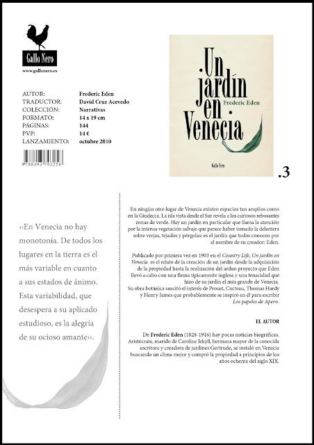 Un jardín en Venecia - Frederic Eden - ficha