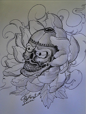 Skull tattoo flash with lotus