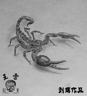 3D Scorpion tattoo flash