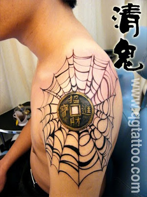 Antique coin tattoo design on the arm