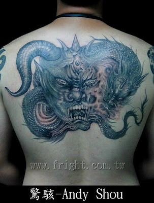 Half demon half dragon tattoo design