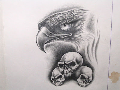 mexican eagle tattoo. Eagle and skull tattoo flash