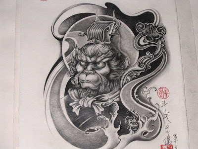This free tattoo flash is a Monkey King, who is the main character in the
