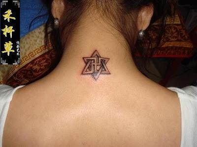 Hexagram tattoo designs on the neck