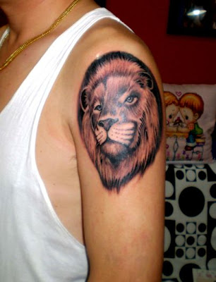 Lion tattoo design on the arm