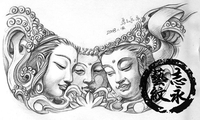 free tattoo designs buddha tattoo flash with three faces. Black Bedroom Furniture Sets. Home Design Ideas