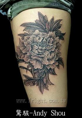 peony tattoo design, free