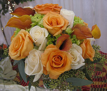 Bridal Bouquet of Orange and White Roses With Mango Calla Lilies
