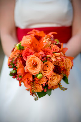Fall Colored Wedding Bouquet of Orange Roses and Hypericum Berries