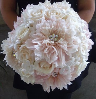 Wedding Bouquet of Pink Dahlias, White Roses, and Beaded Stephanotis