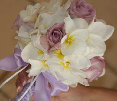 Wedding Bouquet of Roses and Plumeria
