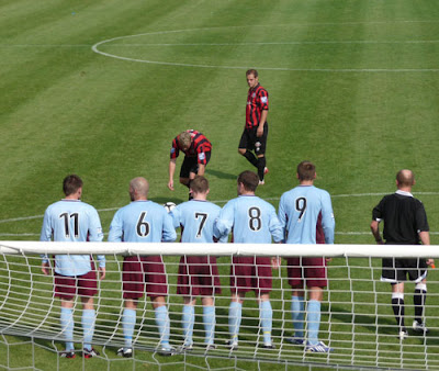 kick on goal at Dripping Pan, Lewes