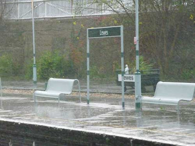 Downpour at Lewes Railway Station, November 2009, image by Oliver Gozzard